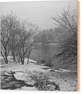 Snowy Day On Redd's Pond And Old Burial Hill Wood Print