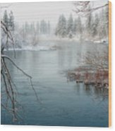 Snowy Day On The River Wood Print