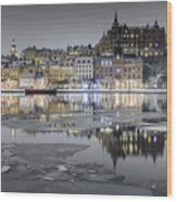 Snowy, Dreamy Reflection In Stockholm Wood Print
