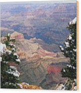Snowy Dropoff - Grand Canyon Wood Print
