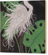 Snowy Egret Deco Wood Print