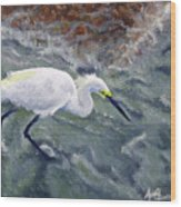 Snowy Egret Near Jetty Rock Wood Print