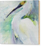 Snowy Egret On Lido Beach Wood Print