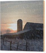 Snowy Farm Wood Print