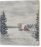 Snowy Farm  Wood Print