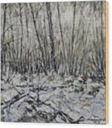 Snowy Forest Wood Print