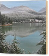 Snowy Green Lake Sunset Whistler B.c Canada Wood Print
