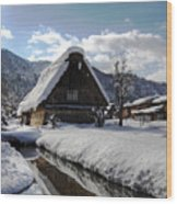 Snowy House Wood Print