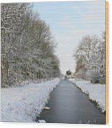 Frozen Scenery Along Canal Wood Print