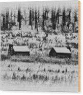 Snowy Log Cabins At Valley Forge Wood Print