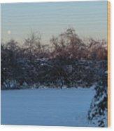 Snowy Moonset Wood Print