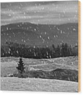 Snowy Mountain Farm Wood Print