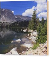 Snowy Mountain Lake Wood Print