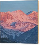 Snowy Mountain Range With A Rosy Hue At Sunset Wood Print