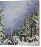 Snowy Mountain Resort Wood Print