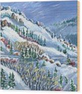 Snowy Mountain Road Wood Print