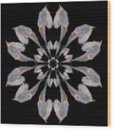 Snowy Owl Snowflake Wood Print
