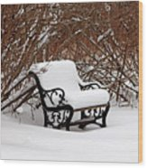 Snowy Park Bench Wood Print