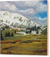 Snowy Peaks Wood Print