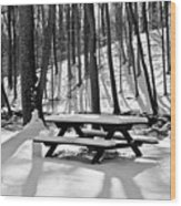 Snowy Picnic Table In Black And White Wood Print