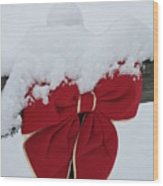 Snowy Red Bow Wood Print