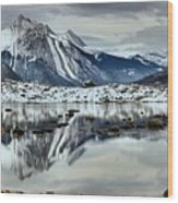 Snowy Reflections In Medicine Lake Wood Print