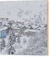 Snowy Resorts Wood Print
