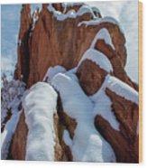 Snowy Ridge Wood Print