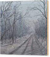 Snowy Road At Dawn  Wood Print
