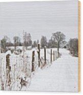 Snowy Rural Landscape Wood Print