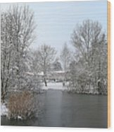 Snowy Scenery Round Canals Wood Print