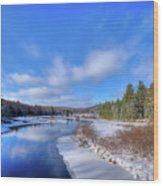 Snowy Shore Of The Moose River Wood Print
