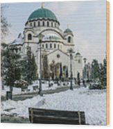 Snowy St. Sava Temple In Belgrade Wood Print