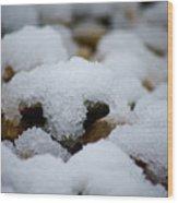Snowy Stones Wood Print