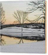 Snowy Sunset Wood Print