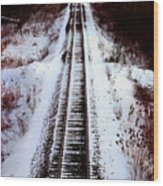 Snowy Train Tracks Wood Print