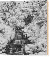 Snowy Waterfall In The Peak District In Derbyshire Wood Print