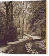 Snowy Woodland Walk One Wood Print