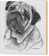 Snuggly Puggly Wood Print