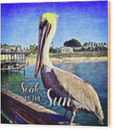 Soak Up The Sun Quote, Cute California Beach Pier Pelican Wood Print