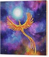 Soaring Firebird In A Cosmic Sky Wood Print