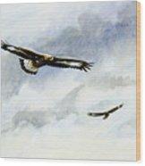 Soaring Golden Eagles Wood Print