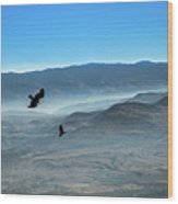 Soaring Ravens Wood Print