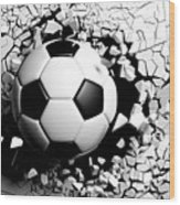 Soccer Ball Breaking Forcibly Through A White Wall. 3d Illustration. Wood Print