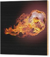 Soccer Ball With Fire Wood Print