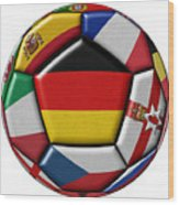 Soccer Ball With Flag Of German In The Center Wood Print