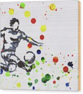 Soccer Player In Action Wood Print
