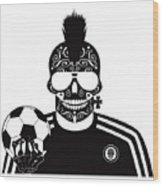 Soccer Skull Icon Background With Sunglasses And Ball. Wood Print