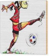 Soccer Striker Wood Print