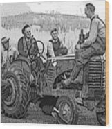 Social Gathering At The Tractor Wood Print
